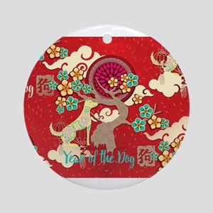 chinese new year dog Round Ornament